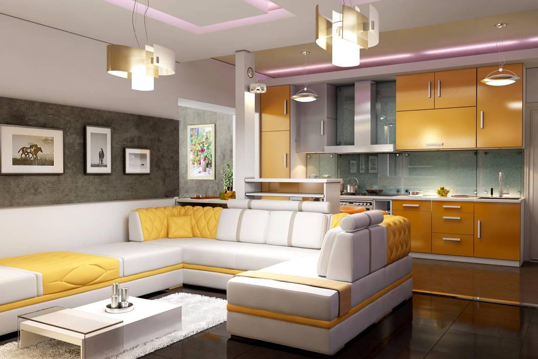 барная стойка в желто-белой кухне