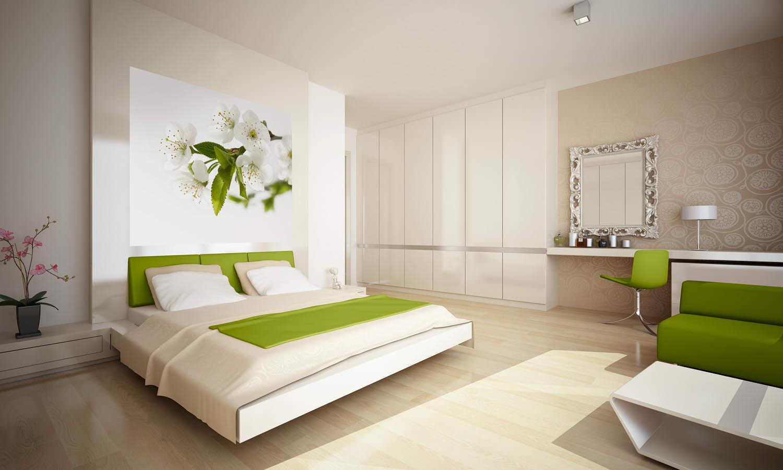 бежевая спальня с сочными оттенками зеленого