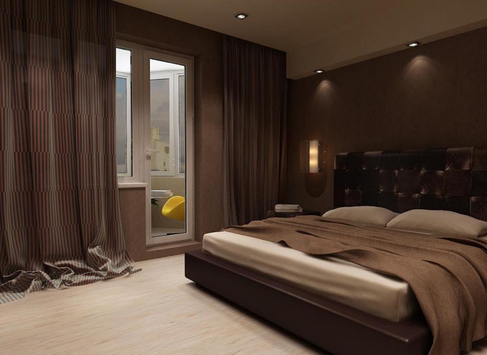 бежево-шоколадная спальня