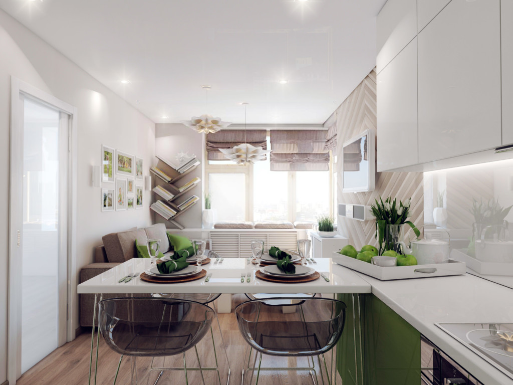 белоснежная кухня-гостиная