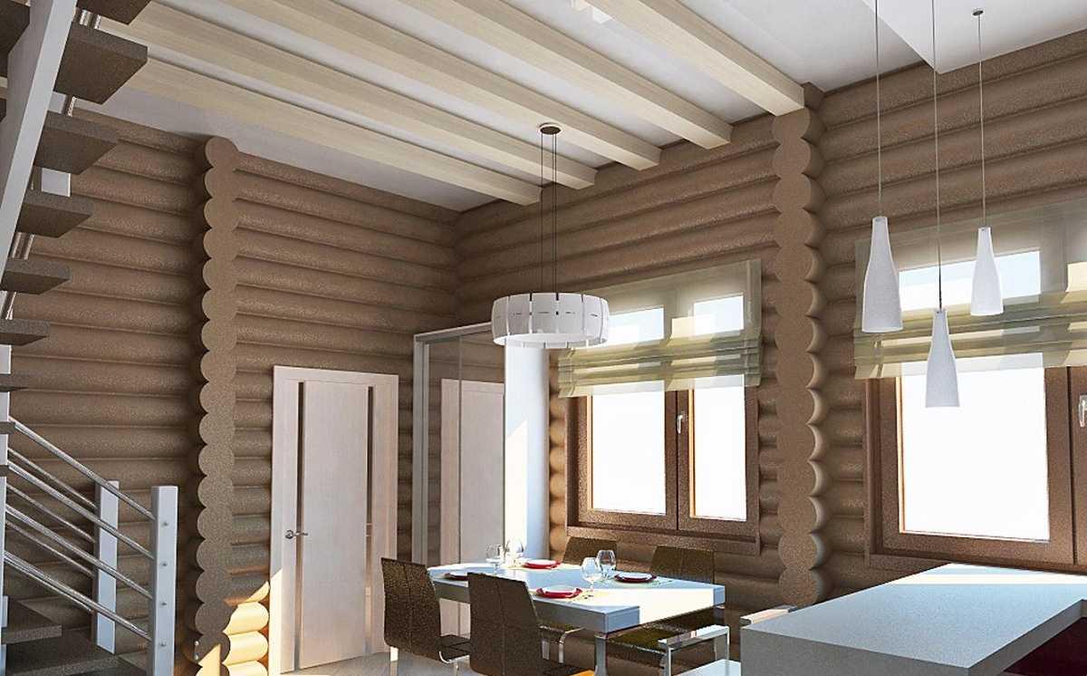 внутренняя отделка дома из оцилиндрованного бревна в современном стиле