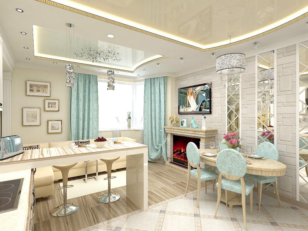 гостиная и кухня в голубых тонах
