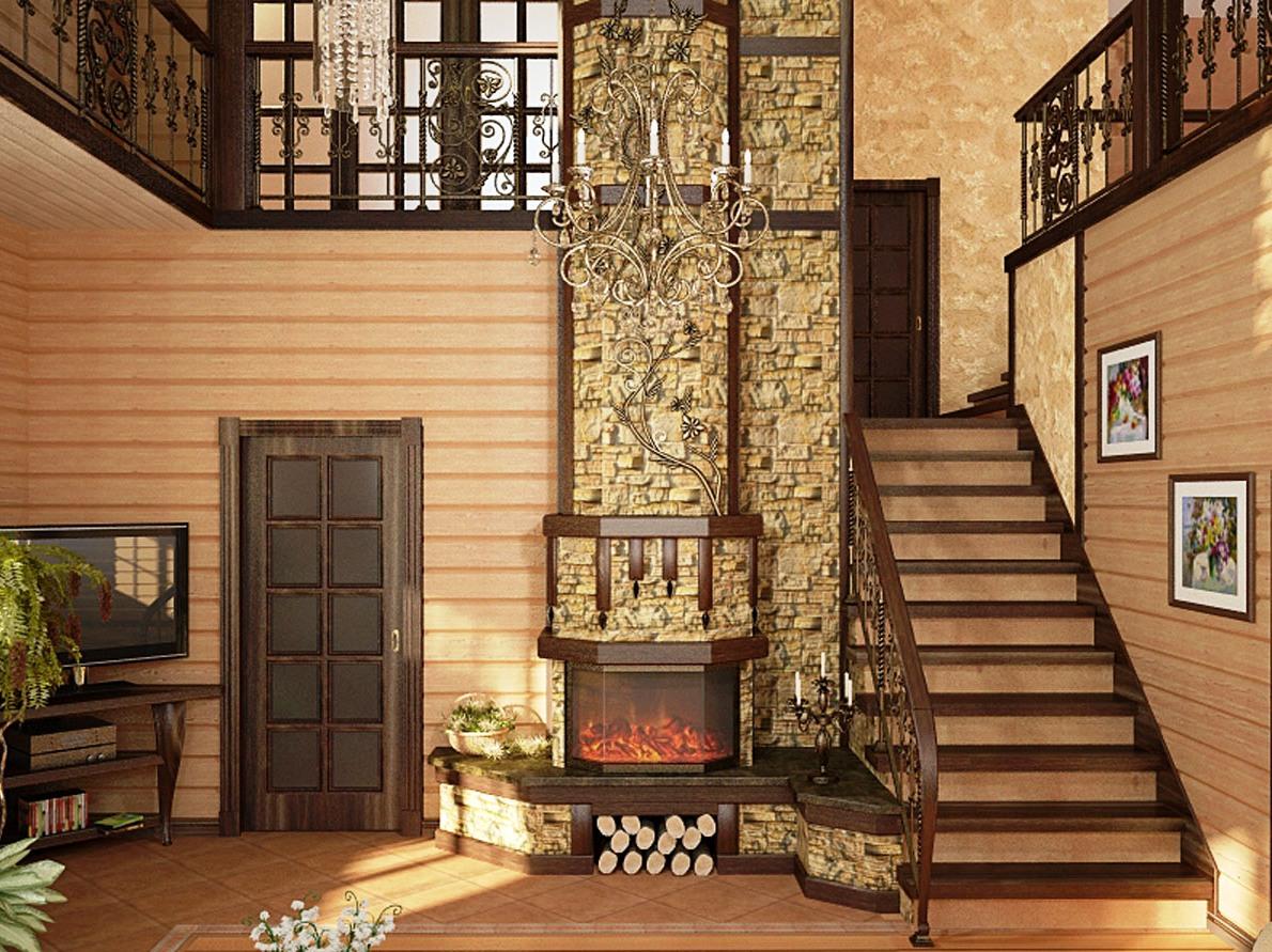 двухэтажный домик из дерева