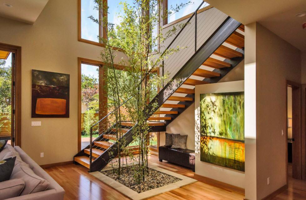 деревянная лестница в современном доме