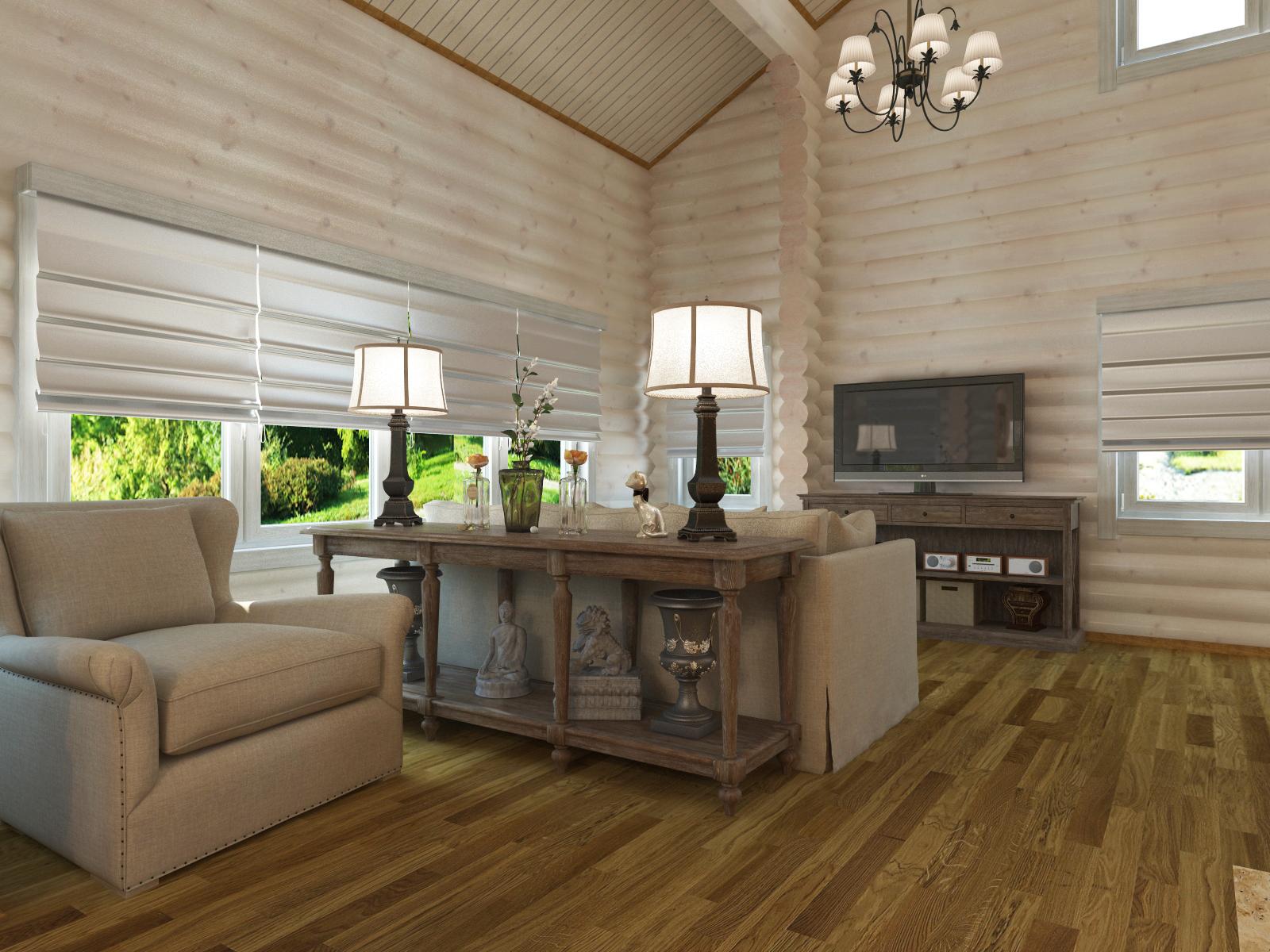 деревянный дом в светлых тонах