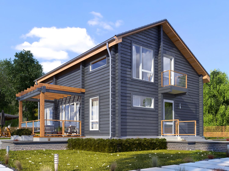 деревянный дом в сером цвете