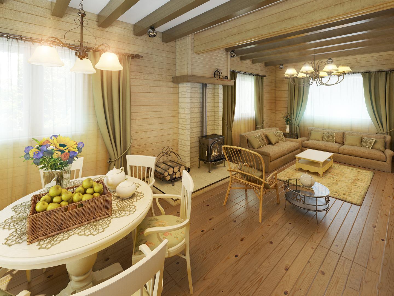деревянный дом с большой комнатой
