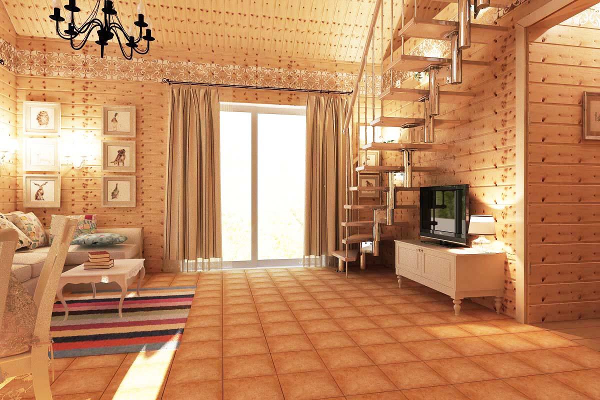 деревянный дом с высокими потолками