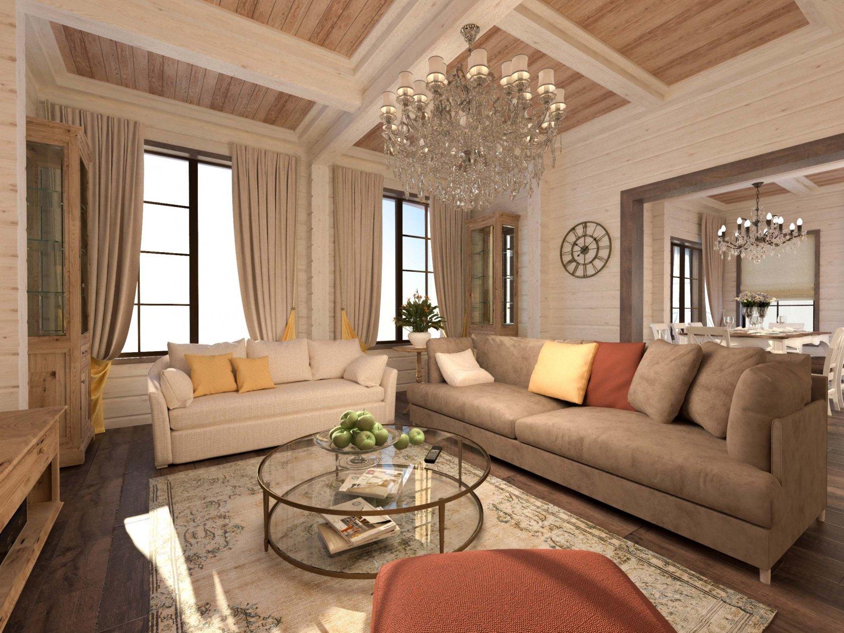 деревянный дом с двумя диванами