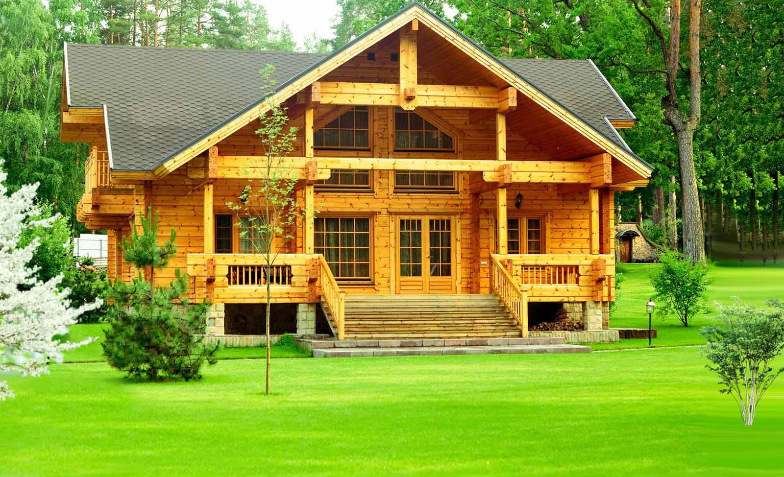 деревянный дом с черепичной крышей
