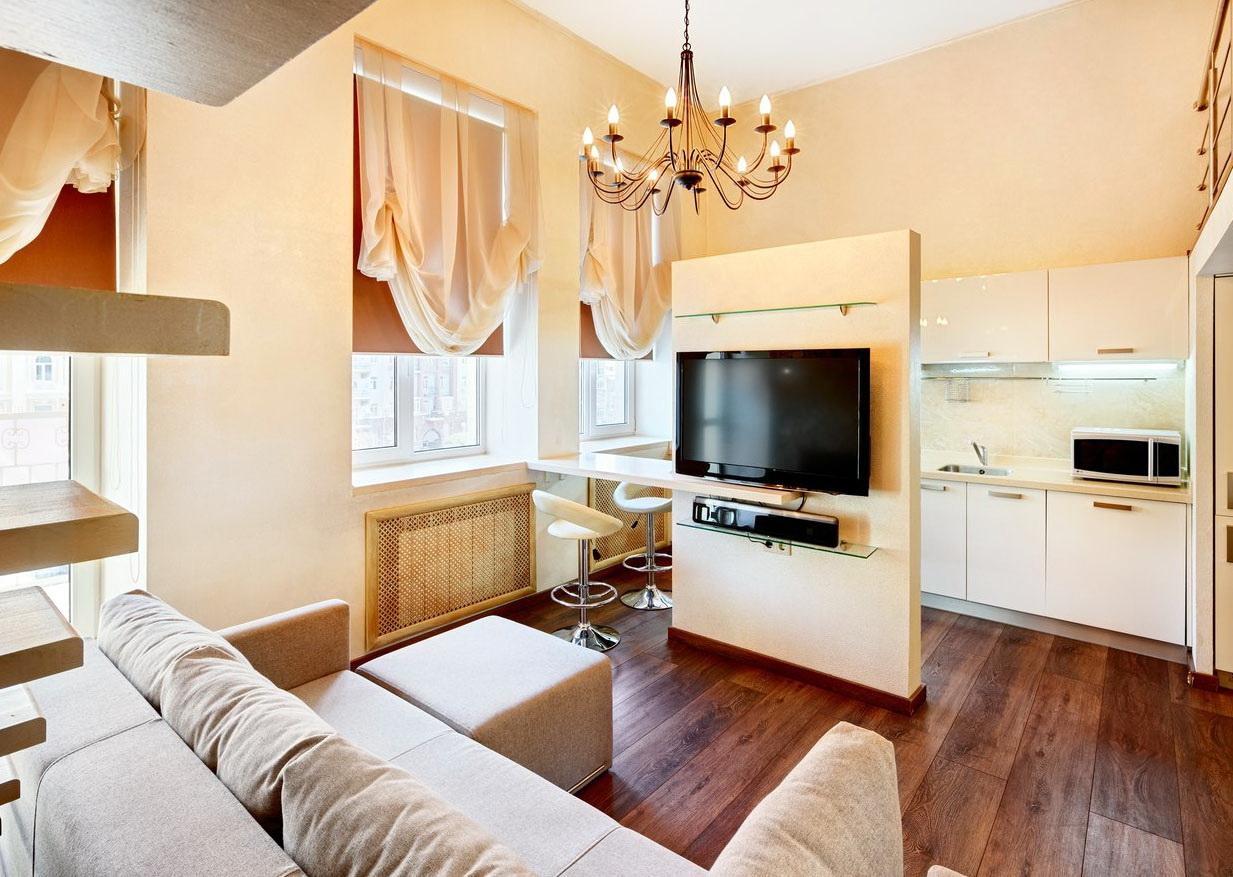 дизайн кухни-гостиной площадью 20 квадратов