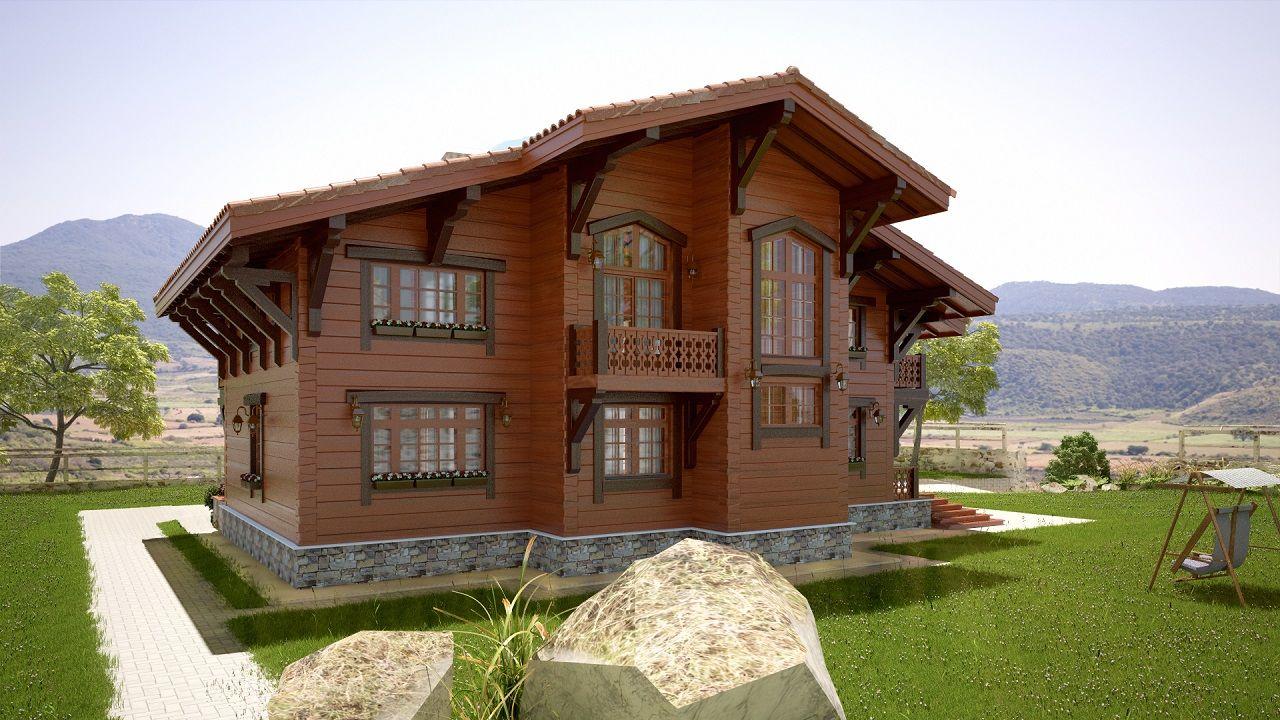 домик из дерева в горной местности