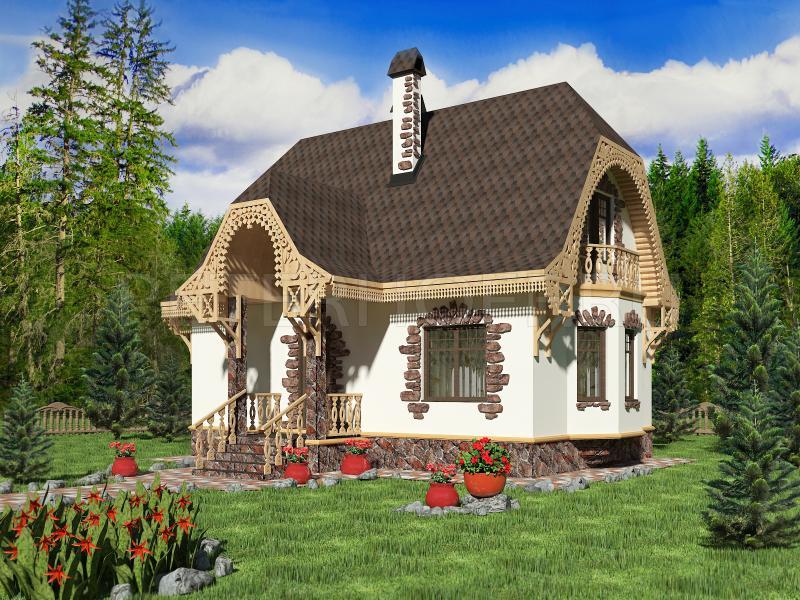 домик с мансардой необычной планировки