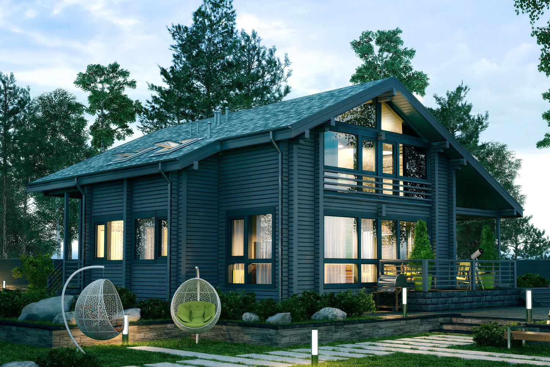 дом из бруса в оригинальном стиле