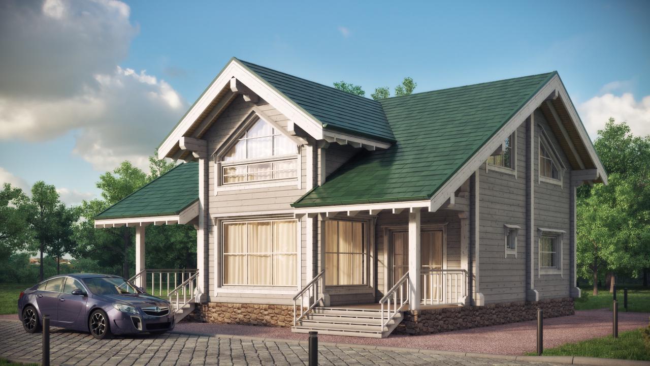 дом из дерева с зеленой крышей