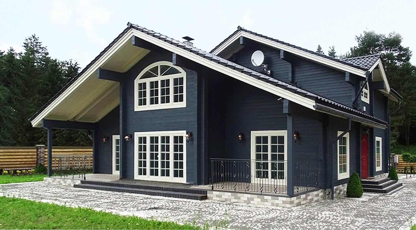 дом из дерева с монолитной плиткой
