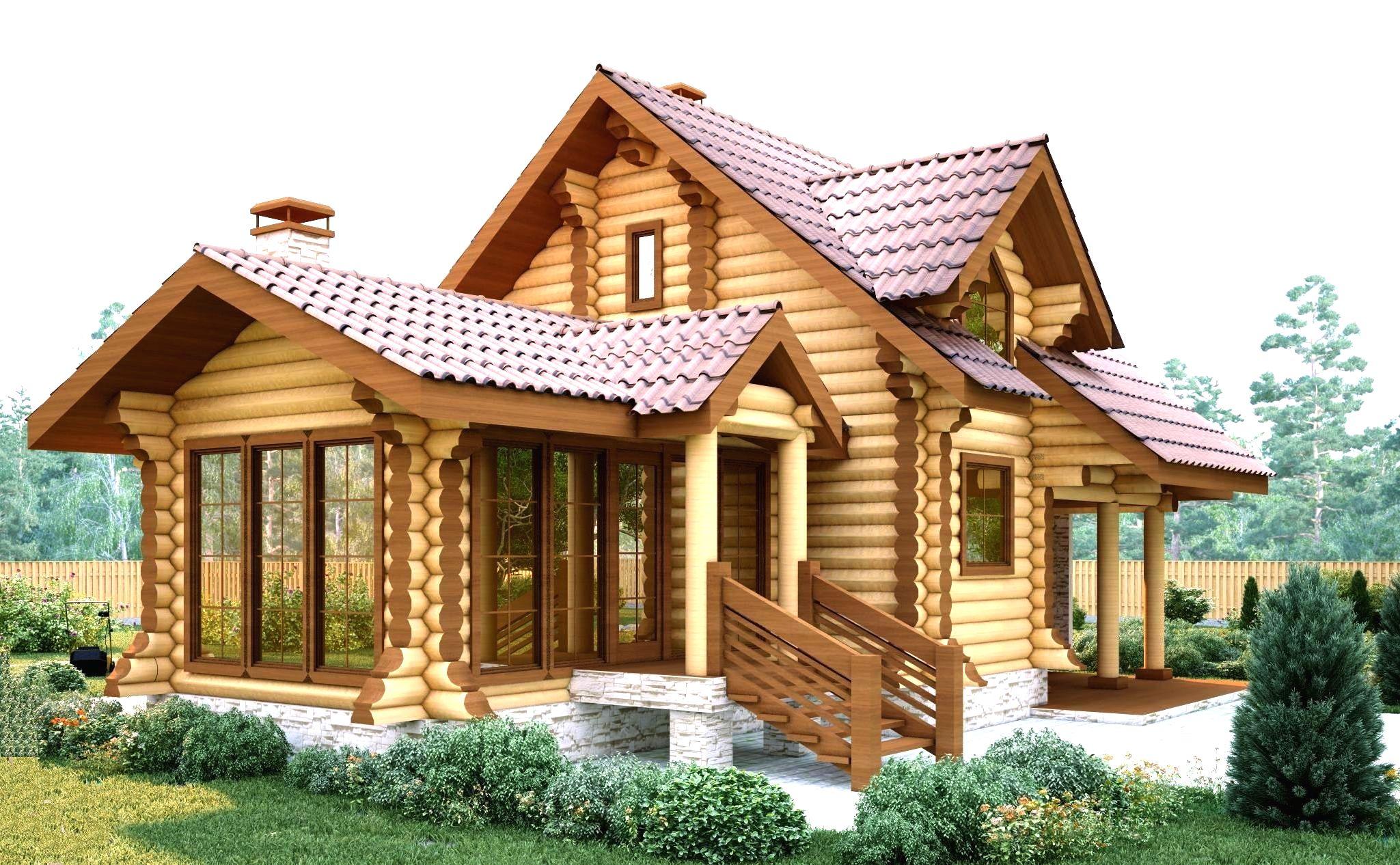 Маленький дачный дом из оцилиндрованного бревна