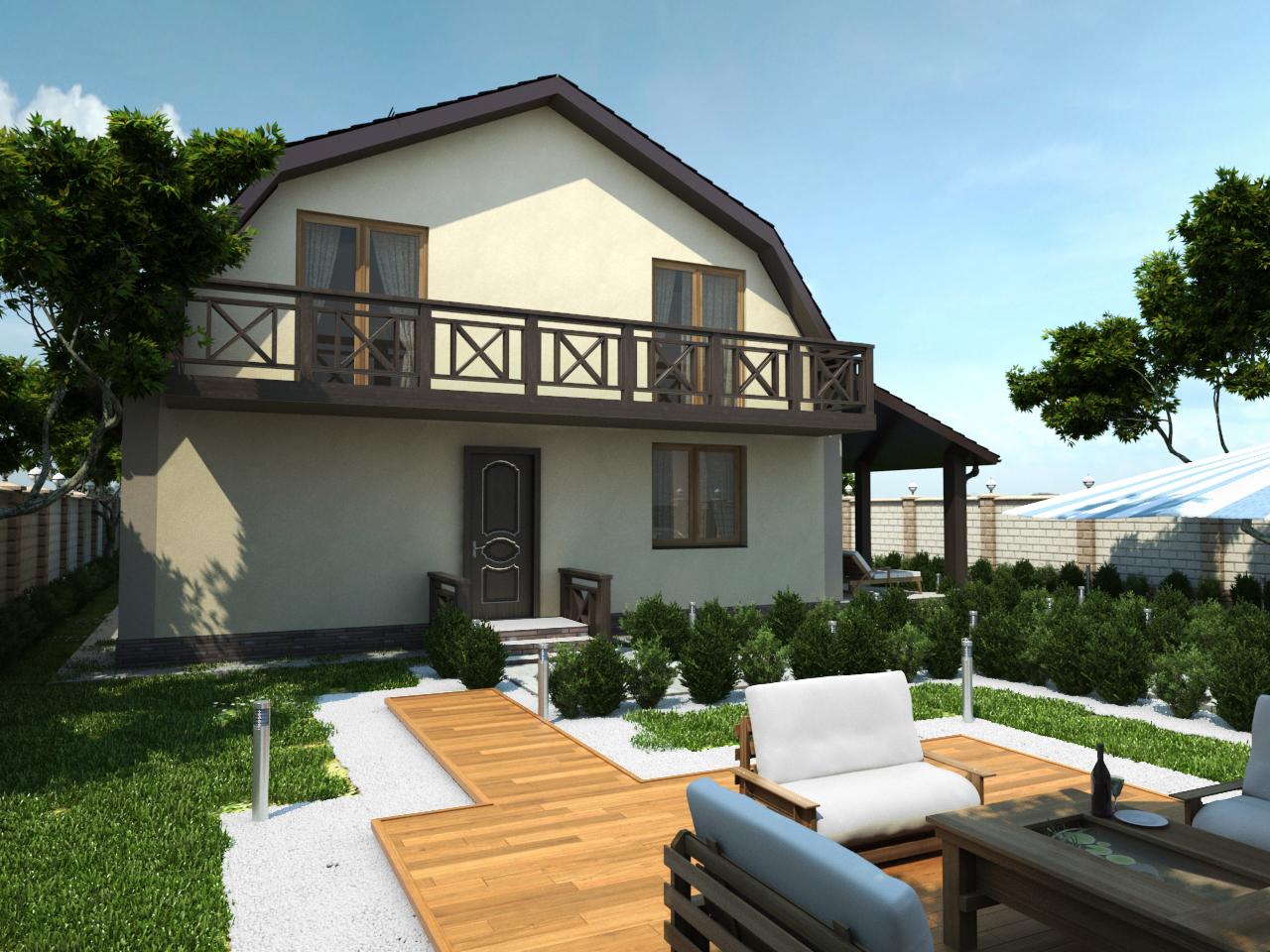 дом с мансардой и большим балконом