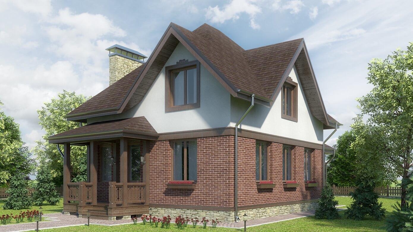 дом с мансардой оригинальной планировки
