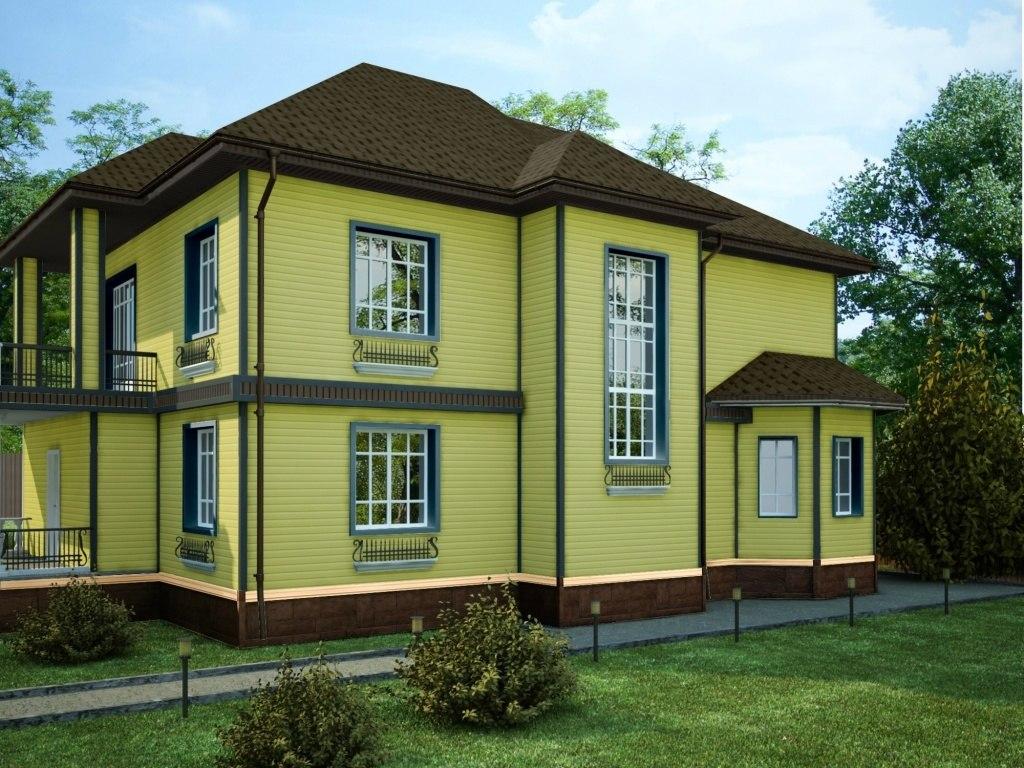 желто-коричневый дом из дерева