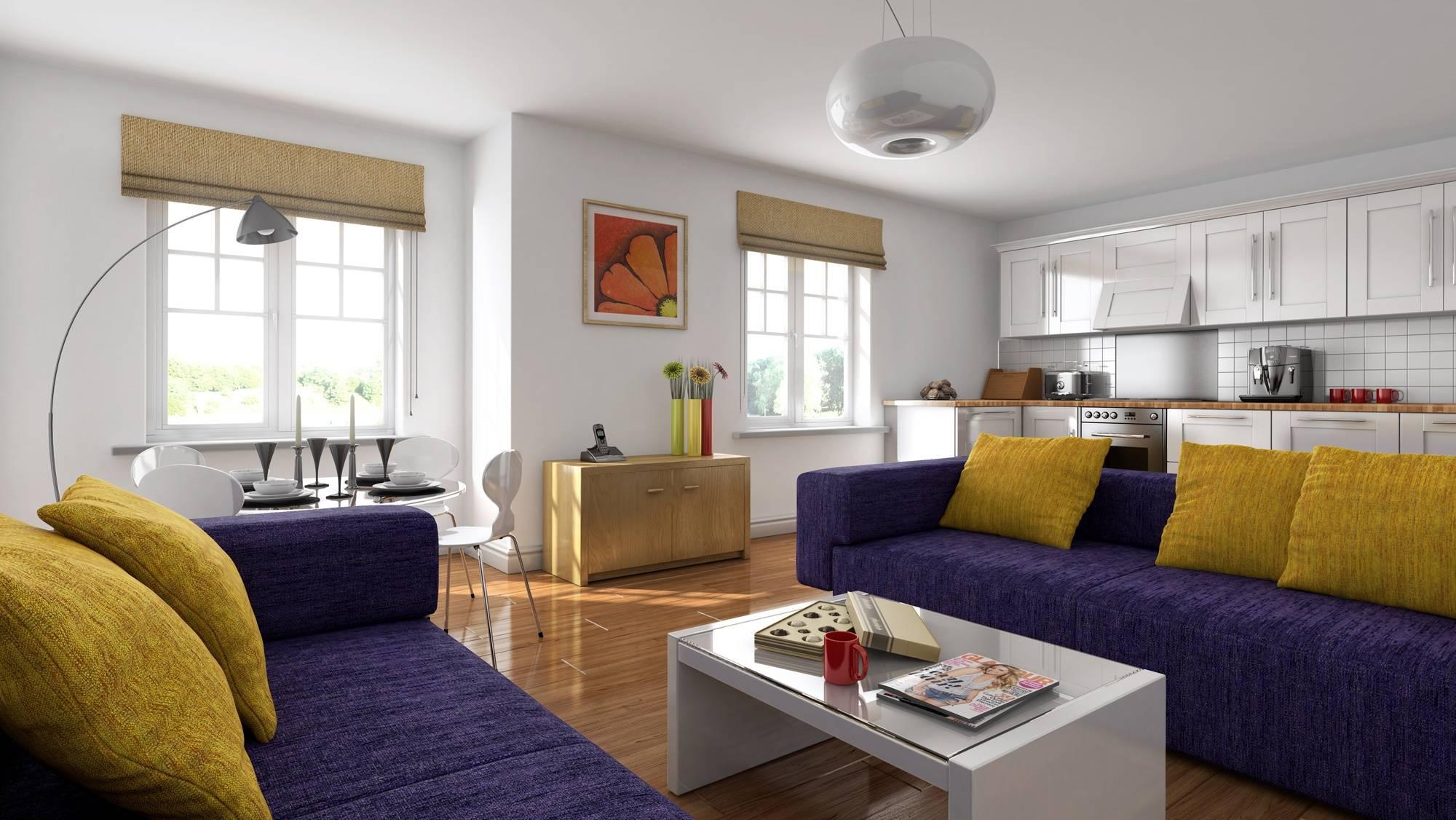 зонирование с помощью двух синих диваном