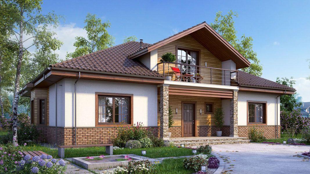 идея для загородного дома с мансардой