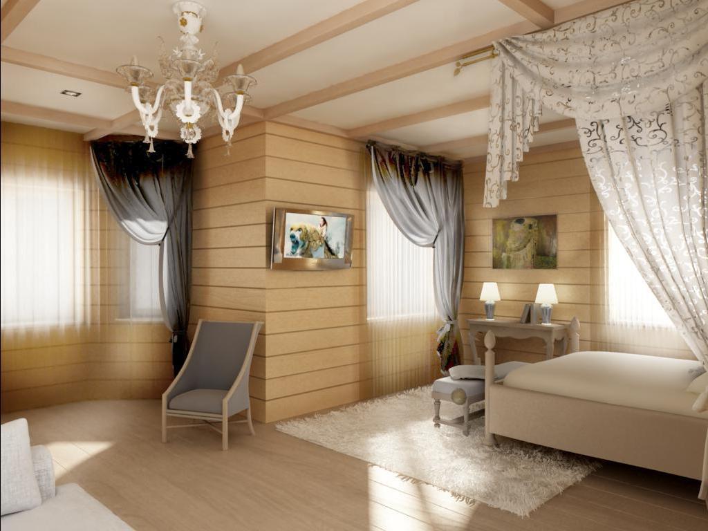 интерьер комнаты с применением деревянного бруса