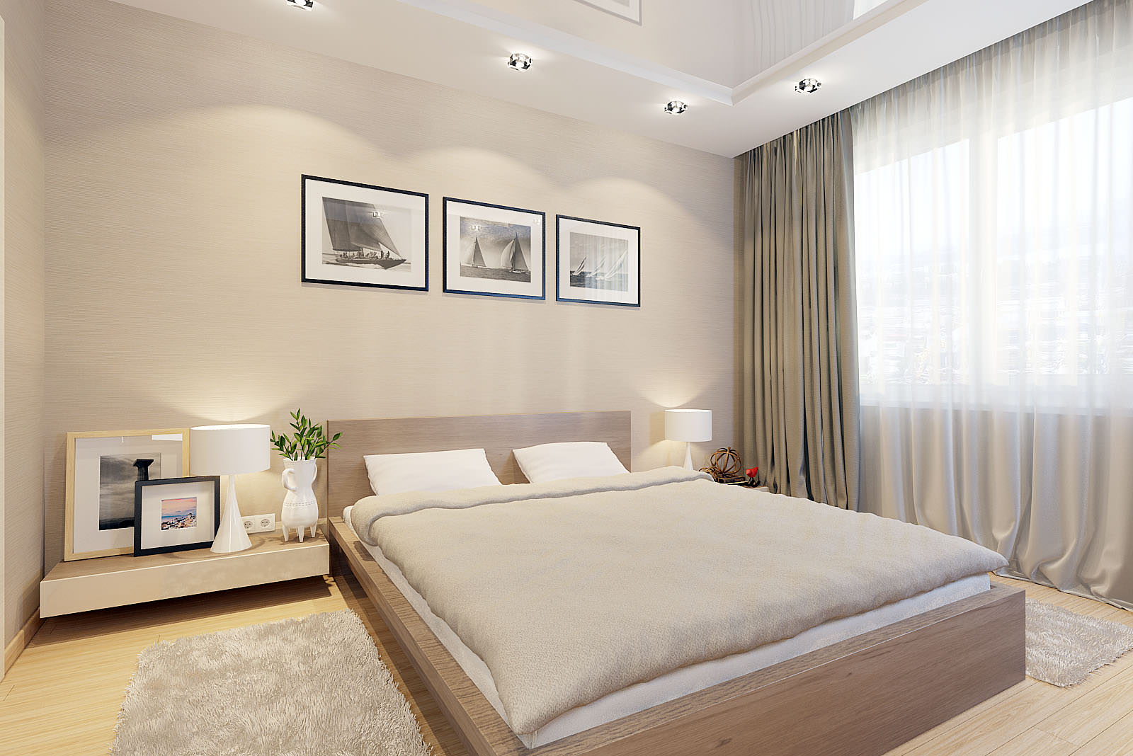 интерьер спальни в бежево-белых тонах