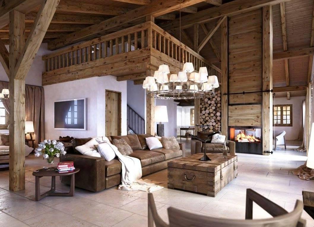 интерьер темного деревянного дома
