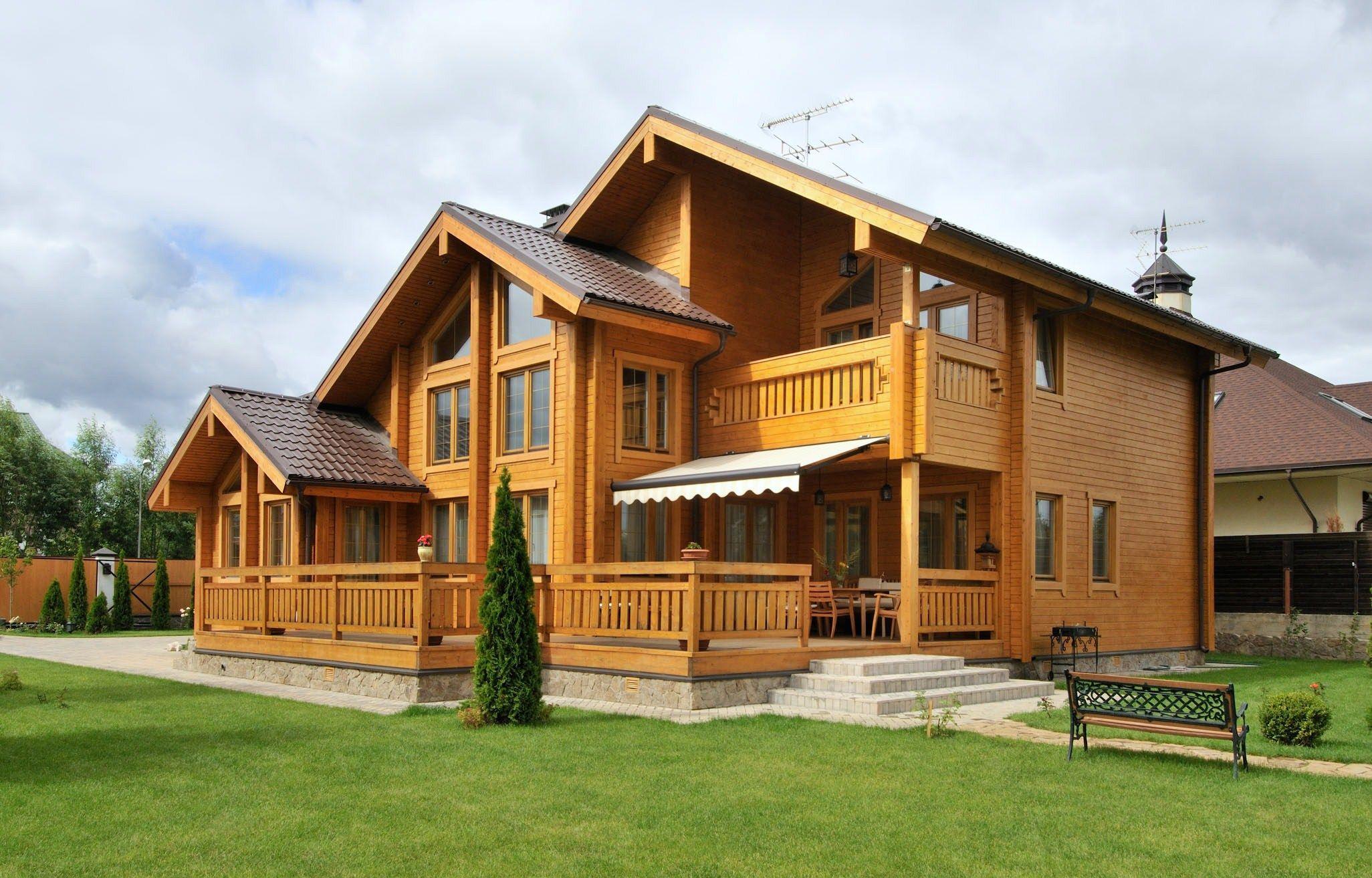 каскадный деревянный дом