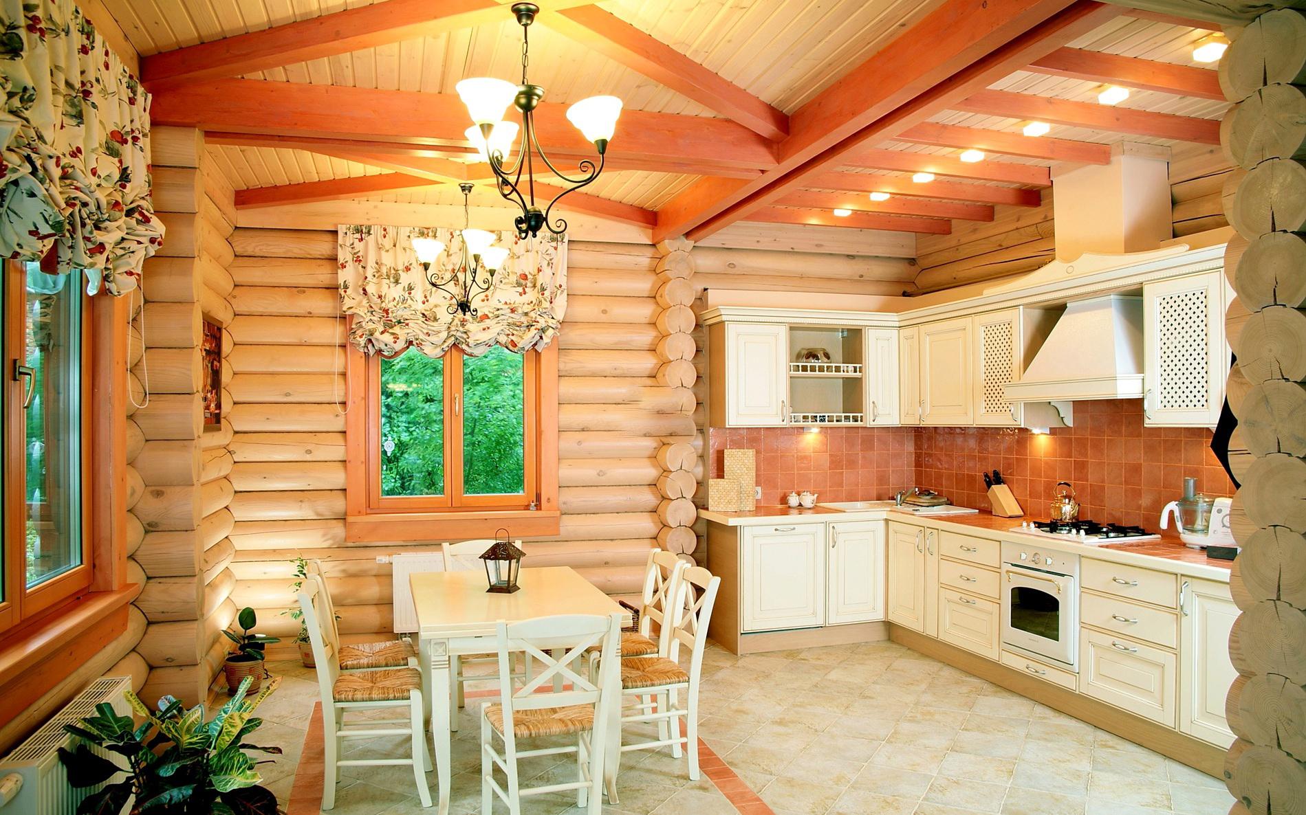 кухня-гостиная в деревянном доме