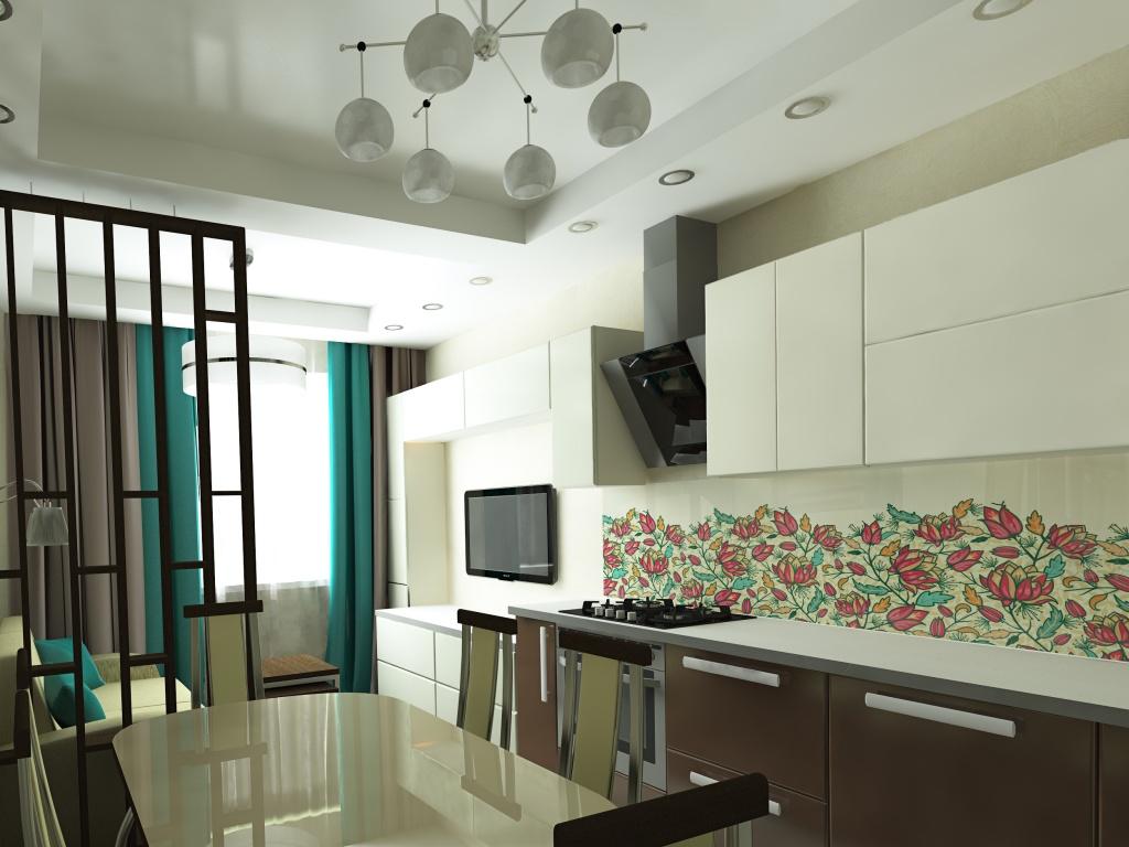 кухня-гостиная 20 квадратов с перегородкой