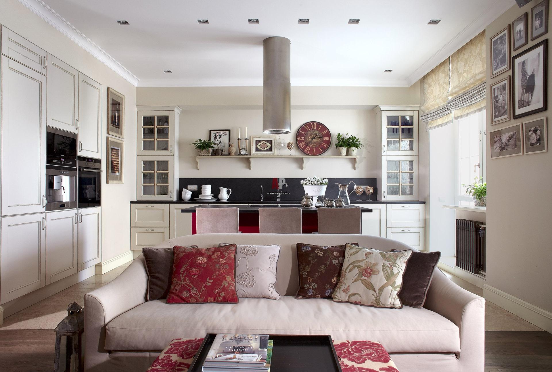 кухня с гостиной разделенные диваном