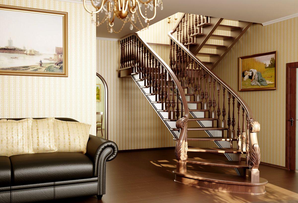 лестница на мансарду для коттеджа