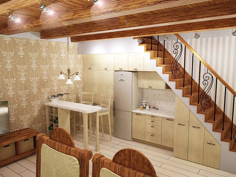лестница на мансарду с кухни