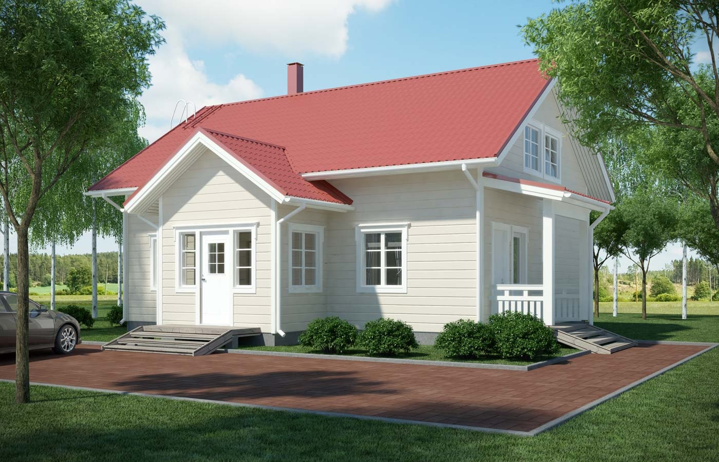 маленький дом из дерева с красной крышей