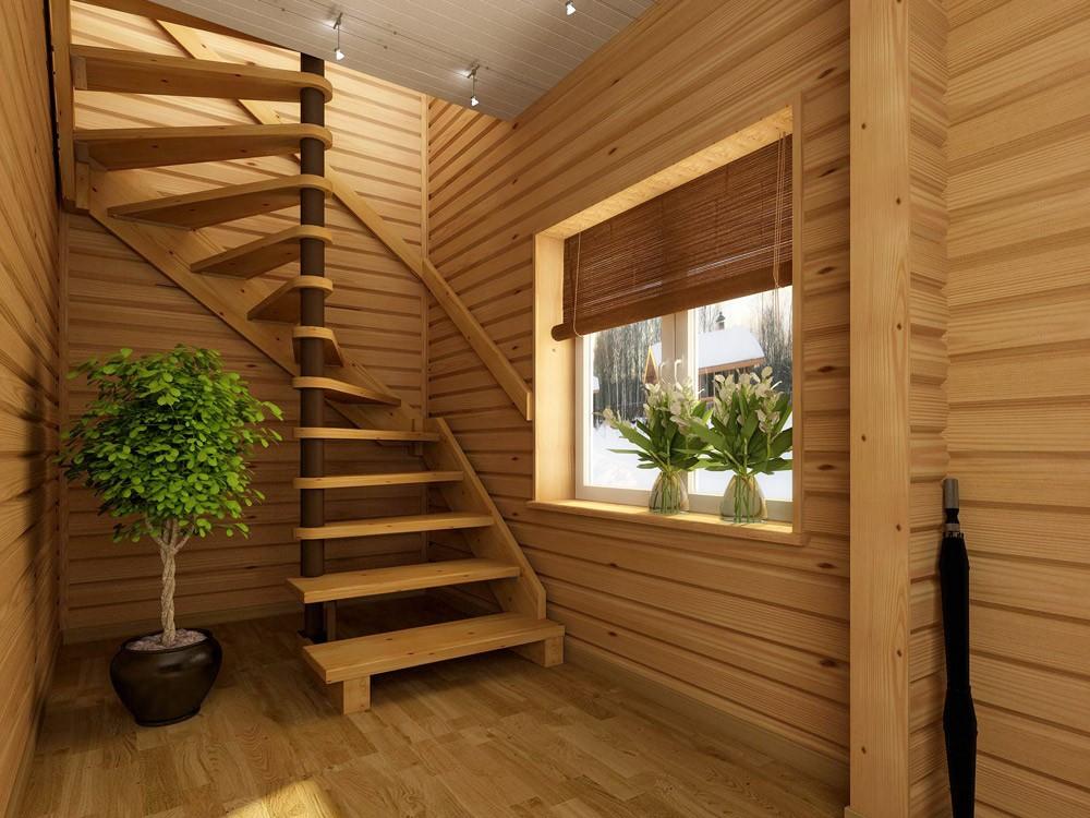 мансардная лестница в дачном доме