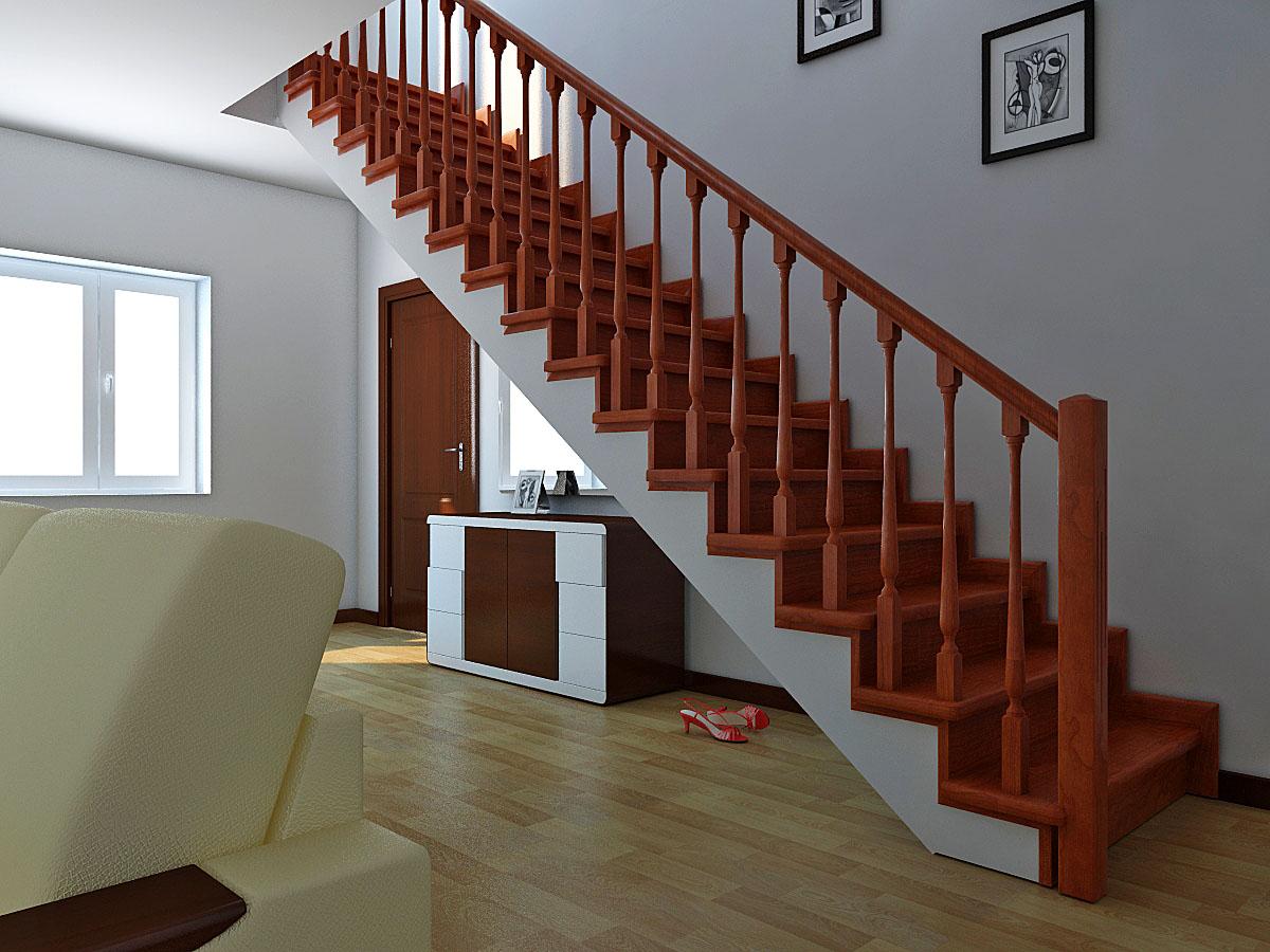 маршевая лестница в каркасном доме