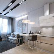минималистичная кухня-гостиная