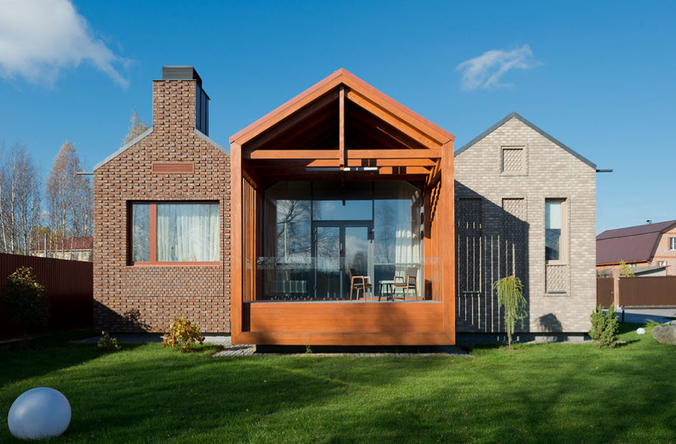 необычный дизайн одноэтажного дома