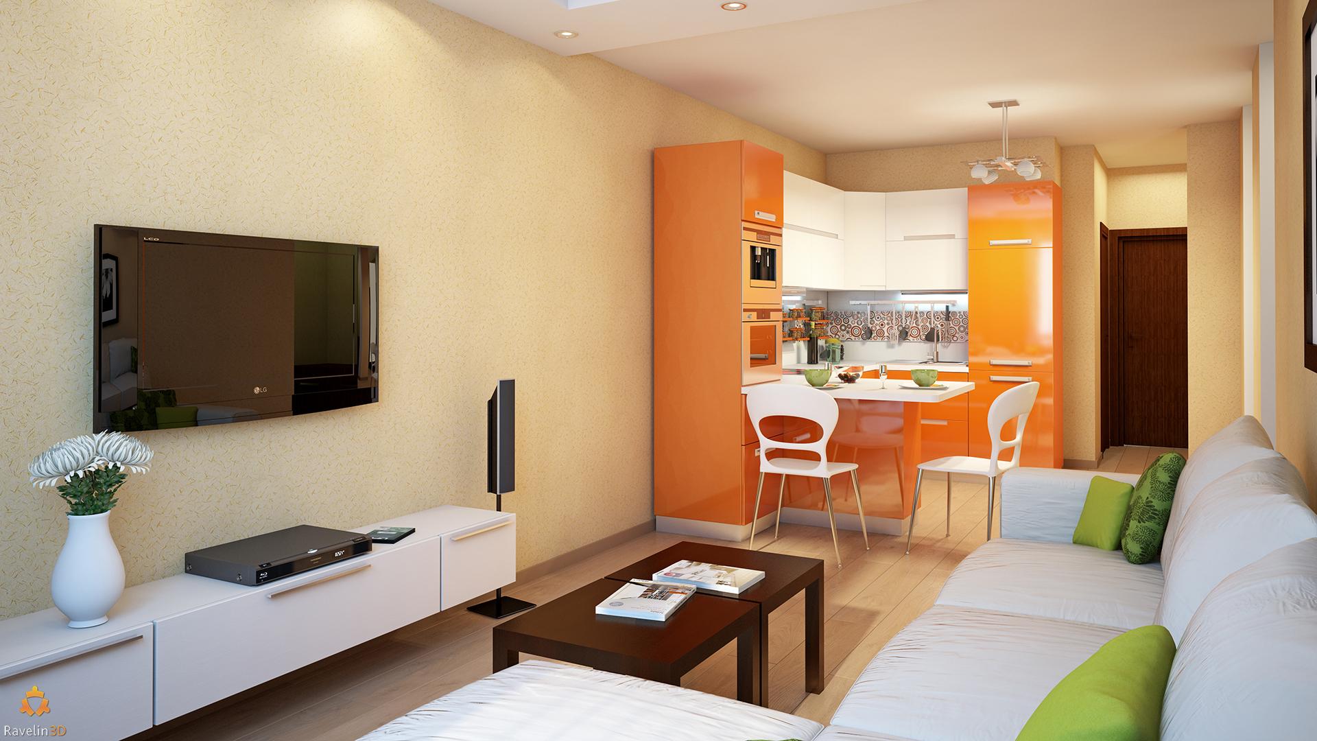 оранжевая кухня и светлая гостиная