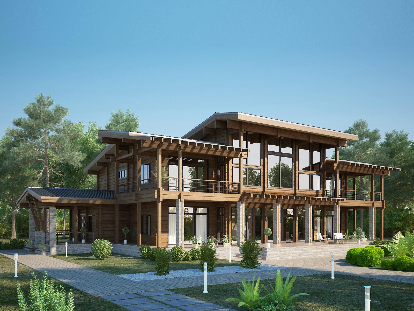 оригинальный проект деревянного дома
