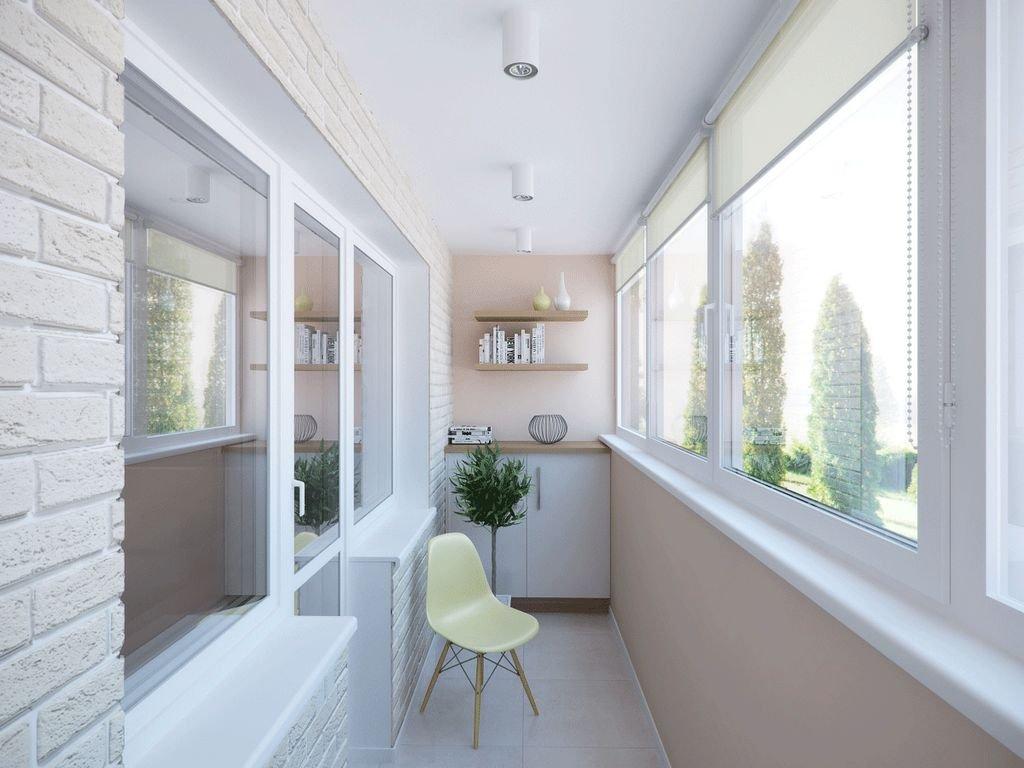 отделка балкона белым кирпичом и пластиком