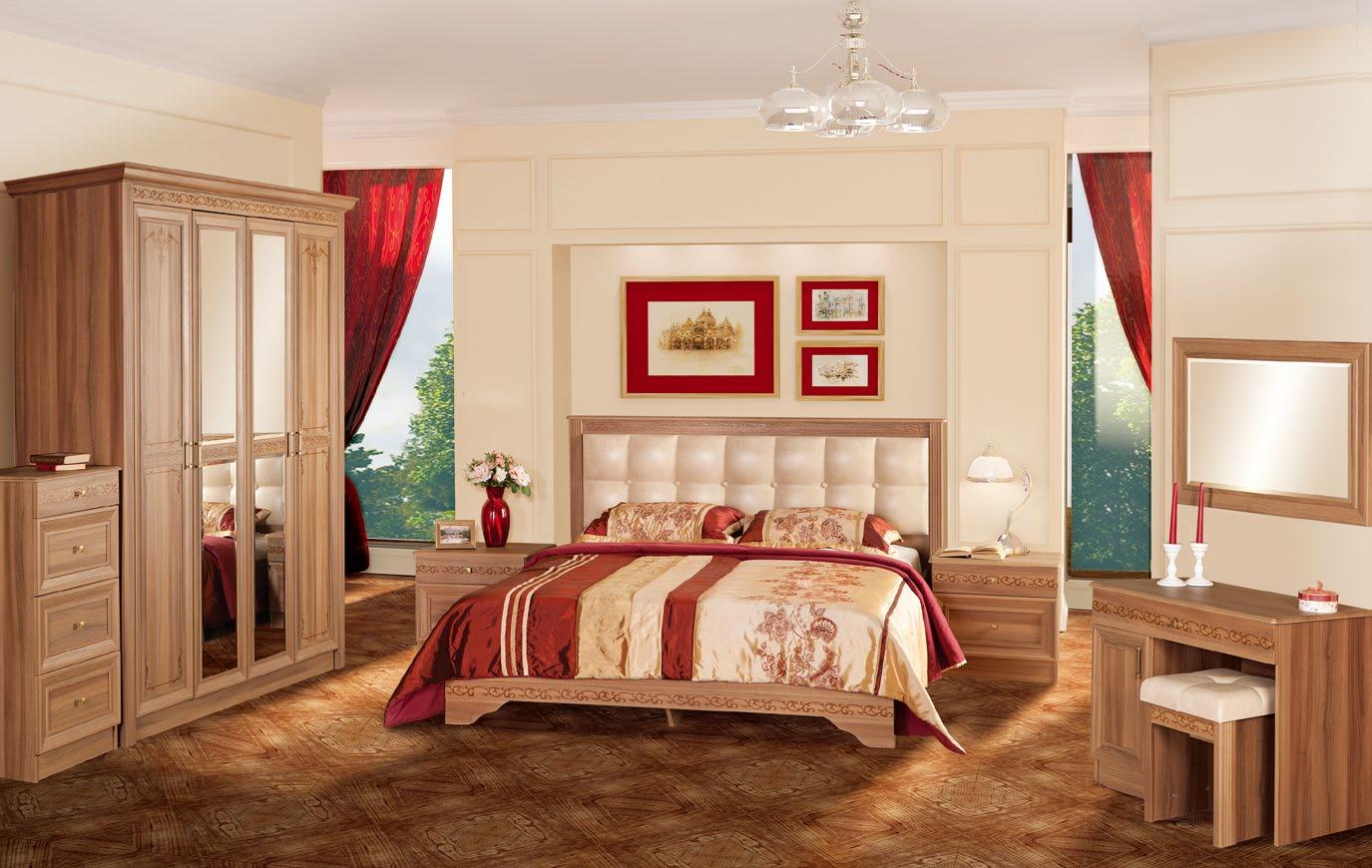 светло-коричневая спальня с красными акцентами