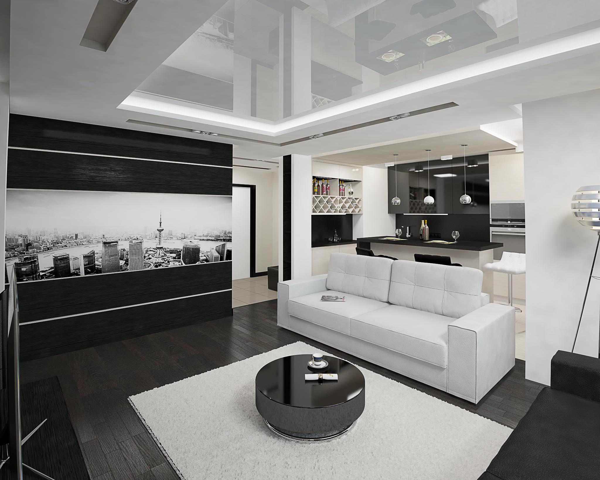 современная черно-белая кухня-гостиная