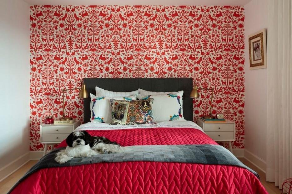 современный дизайн спальни в двух цветах