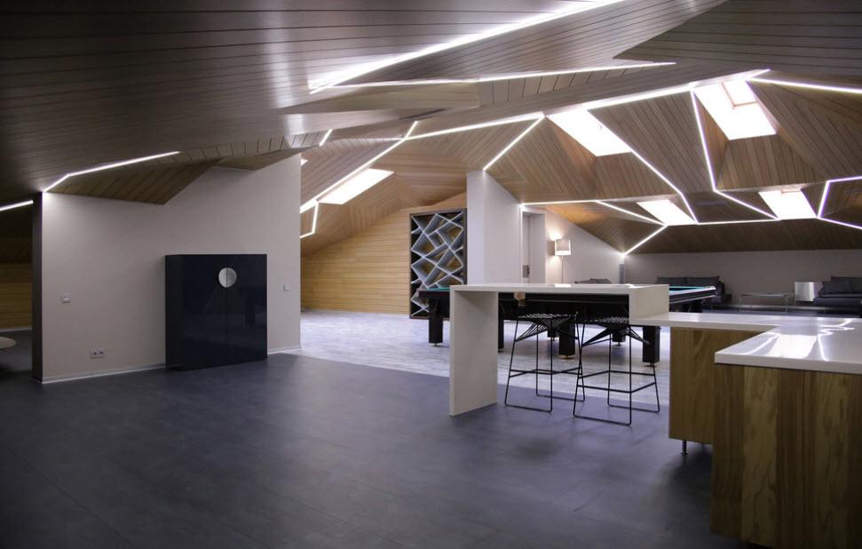 современный интерьер мансардного помещения