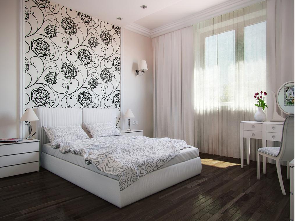 Интерьер спальни в серых тонах со светлой
