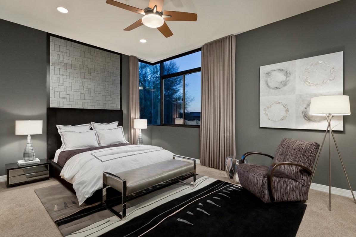 стильная спальня в холодных оттенках