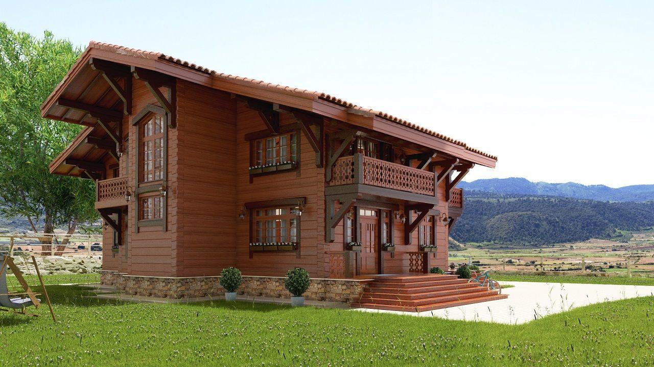 темно-коричневый дом из дерева